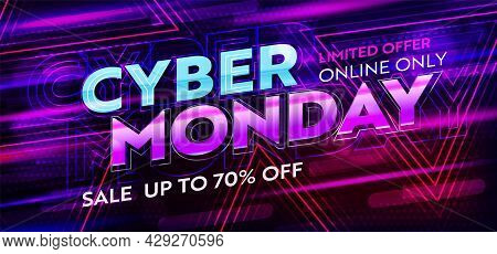 Cyber Monday Neon Banner With Up To 70 Percent Price Off. Promotion Poster Template With Limited Tim