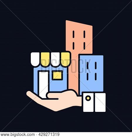 Building Ownership Rgb Color Icon For Dark Theme. Real Estate Business. Private Property. Company As