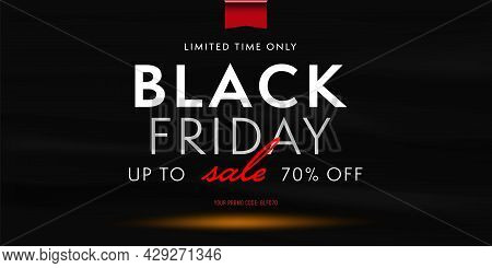 Black Friday Sale Promotion Banner With Personal Promo Code. Gift Coupon Element Template, 70 Percen