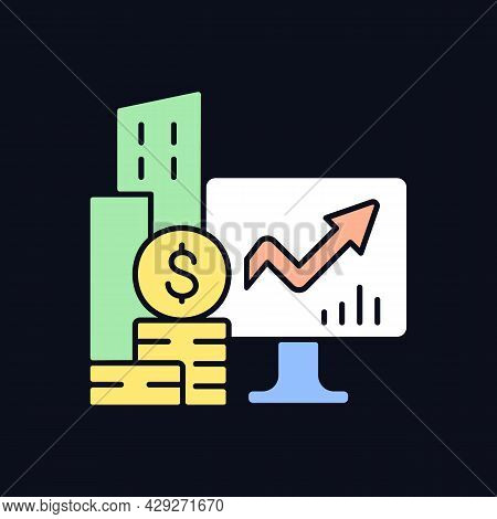 Company Stock Rgb Color Icon For Dark Theme. Income Increment Monitoring. Business Ownership. Isolat