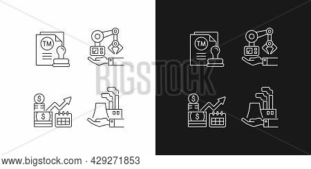 Long Term Business Investments Linear Icons Set For Dark And Light Mode. Machinery Owning And Plants
