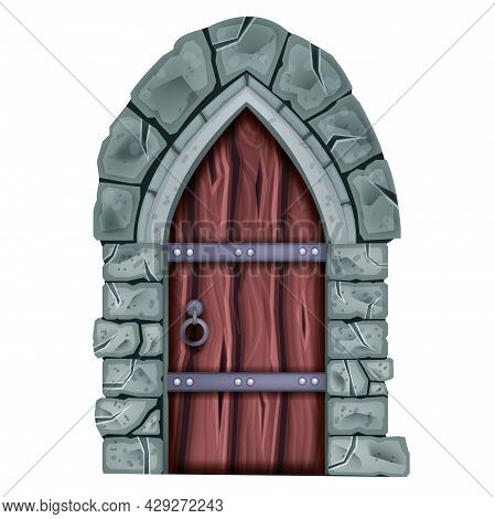 Wooden Old Door Vector Illustration, Castle Vintage Gate, Stone Arch, Dungeon Entrance Isolated On W