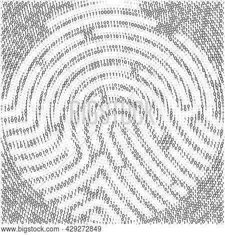 Binary Code By Fingerprint Shape. Cyber Security Technology. Digital Verification Information. Set O