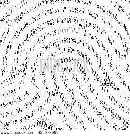 Binary Code By Fingerprint Shape. Cyber Security Technology. Digital Verification Information. Black