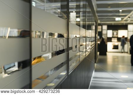 Office Building Corridor, Interior Inside. Selective Soft Focus. Defocus Business Background.