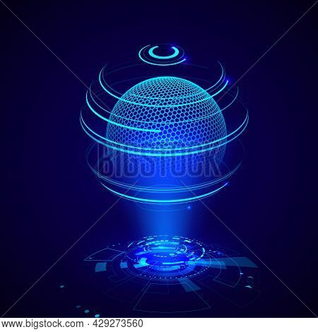 Futuristic Radiolocator Hologram. Hud Control Or Information Panel. Sci Fi Network Screen. Vector Il