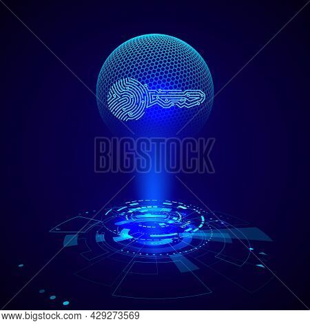 Hologram Of Circuit Key Fingerprint. Futuristic Hud Elements. Sci Fi Futuristic User Interface. Vect