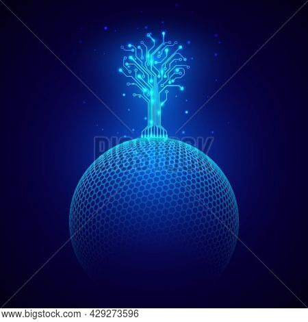 Futuristic Abstract Background. Circuit Tree On Sphere. Sci Fi Concept. Science And Technology Desig