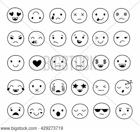 Doodle Smile Emoticons. Image Emoticon, Doodling Emotional Faces. Fun Pictograms, Isolated Outline L