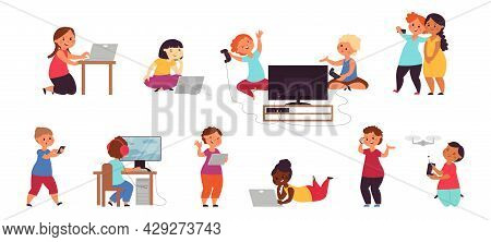 Kid Playing Computer. Happy Friends Play Games, Smartphone Gaming. Young Phone Users, Online Video O