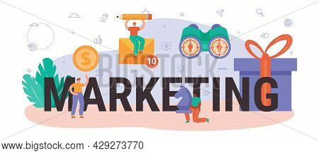 Marketing Typographic Header. Brand Or Product Advertising And Promotion