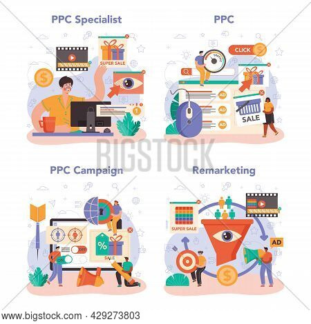 Ppc Specialist Set. Pay Per Click Manager, Contextual Advertsing