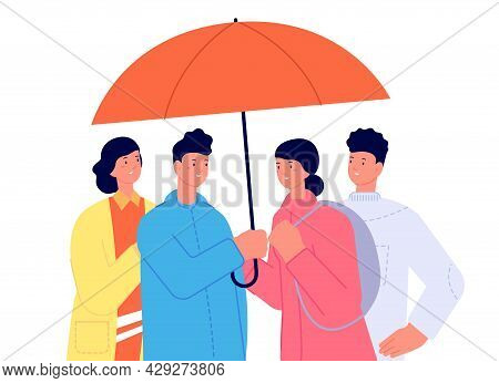 Friends With Umbrella. Friendship Support, People Caring Each Other. Friendly Care, Embracing Or Pro