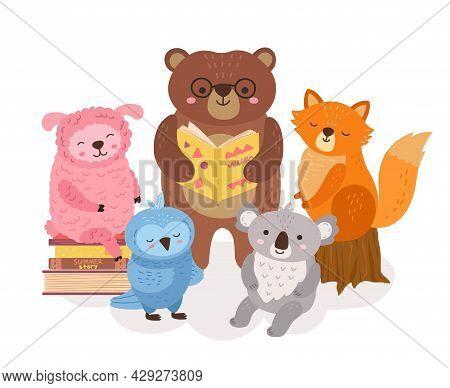 Cute Animals Reading. Wild Animal Read Books, Funny Bear Holding Book. School Study, Library Child C