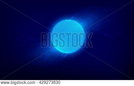 Abstract Blue Network Sphere. Sci Fi Technology Background. Digital Cyberspace Planet Surface. Vecto