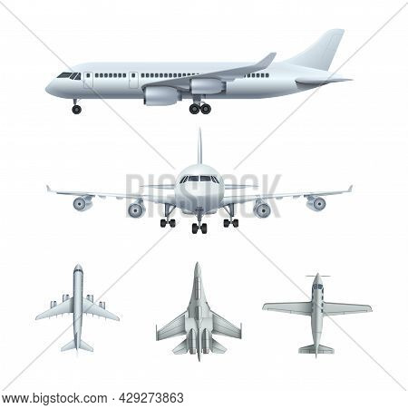 Airplanes. Passenger Realistic Airplane, Army Military Aircrafts. Isolated Flying Fighters, Transpor
