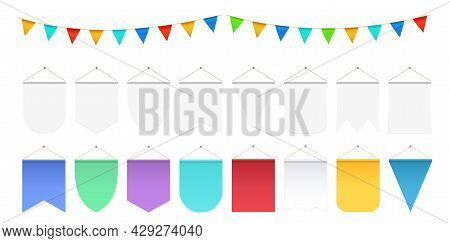 Realistic Hanging Flags. White Pennant Mockup, Festival Party Flag Banners. Isolated Anniversary Or