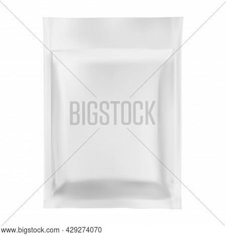 Foil Sachet. Plastic Pouch Vector Mockup, White Template. Silver Zipper Packaging, Biscuit Or Candy