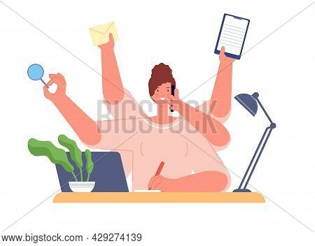 Multitasking Girl Work. Isolated Workload Woman, Manager Many Tasks. Successful Executive Career, Bu
