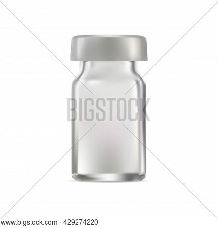 Medical Glass Vial, Vaccine Injection Ampoule Blank. Realistic Transparent Packaging Design With Alu