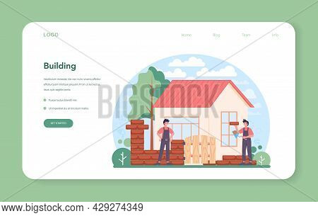 Bricklayer Web Banner Or Landing Page. Professional Builder Constructing
