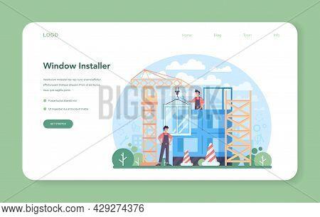 Installer Web Banner Or Landing Page. Worker In Uniform Installing Windows