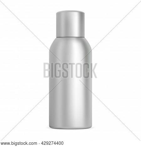 Aluminium Spray Bottle. Cosmetic Aerosol, Hairspray Metal Tube, Deodorant Container Design. Silver T