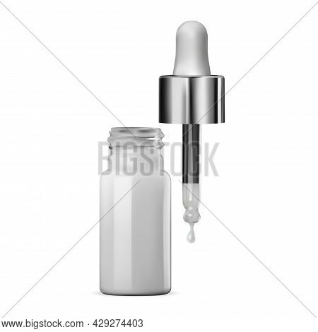 Glass Dropper Bottle, Isolated Serum Container Mockup. Realistic Medical Vial, Eyedropper Flacon Tem