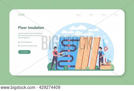 Floor Insulation Web Banner Or Landing Page. Thermal Or Acoustic Insulation