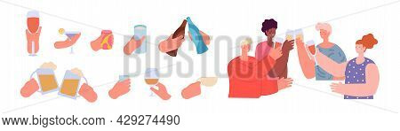 People Holding Drinks. Hands With Drink, Friends Clinking Glasses. Hand Hold Can Or Bottles, Teens C