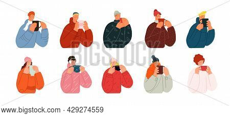 Characters With Hot Drinks. Winter Happiness, Autumn Tea Or Coffee Drink. Cold Treatment, People Wea