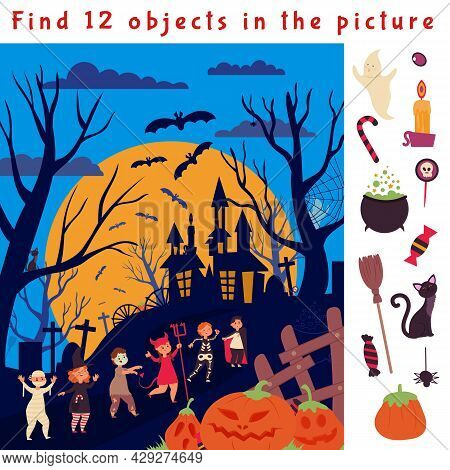 Find Hidden Objects. Halloween Game Location, Fun Children Puzzle. Look Play Picture, Education Sear