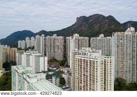 Wong Tai Sin, Hong Kong 22 January 2021: Top view of Hong Kong city