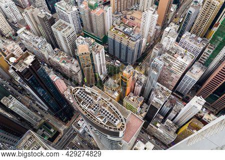 Wan Chai, Hong Kong 11 January 2021: Top view of Hong Kong city