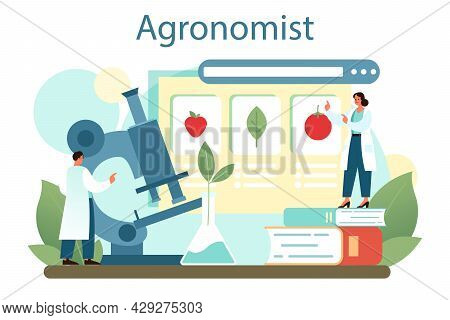 Argonomist Concept. Scientist Making Research In Agriculture.