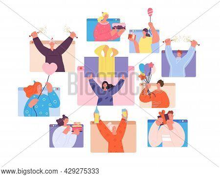 Birthday Online Party. Social Event, Woman On Fun Virtual Festival In Web. Guy Celebration, Fun Teen