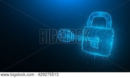Cyber Security Low Poly Art. Polygonal Vector Illustration Of A Key And Lock On A Blue Background. C