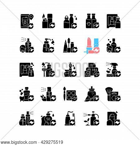 Refill Options Black Glyph Icons Set On White Space. Eco Friendly Package. Reusable Products To Redu