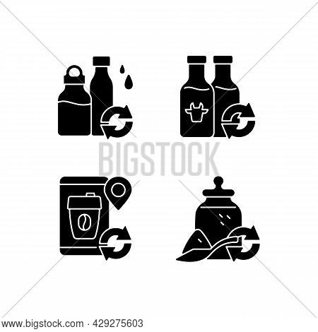 Refillable Options Black Glyph Icons Set On White Space. Water Bottle. Milk Drink. Reusable Coffee C