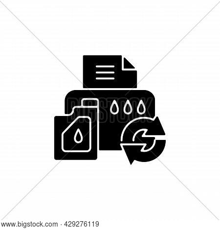 Printer Cartridge Refill Black Glyph Icon. Reusable Ink Container For Office Machine. Eco Friendly P