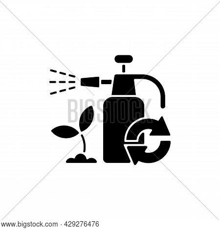 Garden Chemicals Refill Black Glyph Icon. Pesticide Sprayer. Natural Fertilizer. Eco Friendly Packag