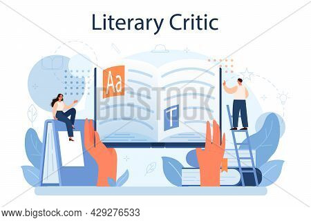 Literary Critic Concept. Professional Journalist Making Review And Ranking