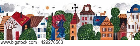Cute seamless pattern old town. Gouache illustration. Children's horizontal poster. Horizontal repeating border.