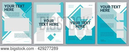 Dark Turquoise Corporate Brochure Template. Flyer, Booklet, Leaflet Print, Cover Design With Copy Sp