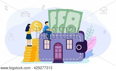 Household Expenses Wallet With Money Coins House Rental Buy Real Estate And Pay Credit To Bank Mortg