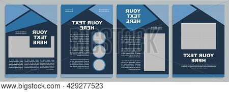 Dark Blue Marketing Brochure Template. Flyer, Booklet, Leaflet Print, Cover Design With Copy Space.
