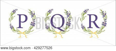 P Q R Letter. Set Modern Hand-drawn Flat Sketch Illustrations. Lavender Flower Wreath With Alphabet