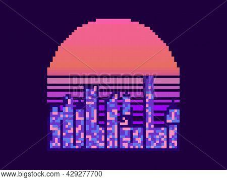 Pixel Art City At Sunset. 8 Bit Cityscape On The Pixel Sun. 80s Synthwave And Retrowave. Retro 8-bit