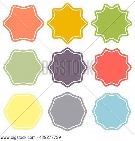 Set Template Label Sunburst, Shapes Badges Vector Starburst Promo Burst, Design Sale Sticker Promo B
