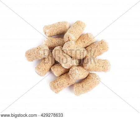 Pile Of Granulated Wheat Bran On White Background, Top View
